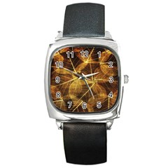 Leaves Autumn Texture Brown Square Metal Watch