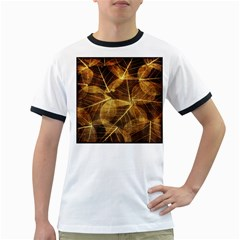 Leaves Autumn Texture Brown Ringer T Shirts