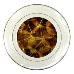 Leaves Autumn Texture Brown Porcelain Plates