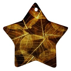 Leaves Autumn Texture Brown Star Ornament (two Sides)