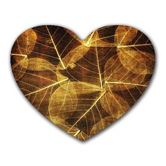 Leaves Autumn Texture Brown Heart Mousepads