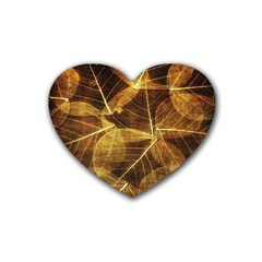 Leaves Autumn Texture Brown Heart Coaster (4 Pack)