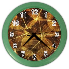 Leaves Autumn Texture Brown Color Wall Clocks