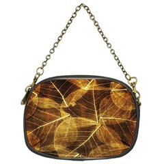Leaves Autumn Texture Brown Chain Purses (one Side)