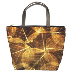 Leaves Autumn Texture Brown Bucket Bags