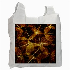 Leaves Autumn Texture Brown Recycle Bag (two Side)