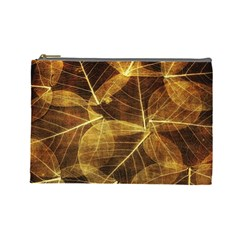Leaves Autumn Texture Brown Cosmetic Bag (large)