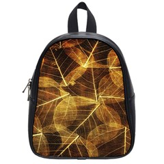 Leaves Autumn Texture Brown School Bags (small)