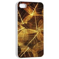 Leaves Autumn Texture Brown Apple Iphone 4/4s Seamless Case (white)