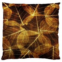 Leaves Autumn Texture Brown Large Cushion Case (two Sides)