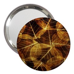 Leaves Autumn Texture Brown 3  Handbag Mirrors