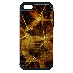 Leaves Autumn Texture Brown Apple Iphone 5 Hardshell Case (pc+silicone)