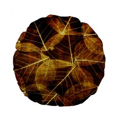 Leaves Autumn Texture Brown Standard 15  Premium Round Cushions