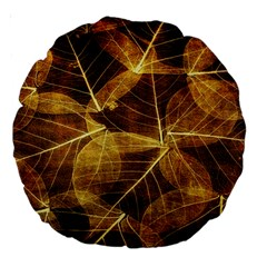 Leaves Autumn Texture Brown Large 18  Premium Round Cushions