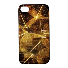 Leaves Autumn Texture Brown Apple Iphone 4/4s Hardshell Case With Stand