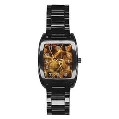 Leaves Autumn Texture Brown Stainless Steel Barrel Watch