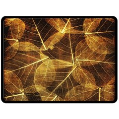 Leaves Autumn Texture Brown Double Sided Fleece Blanket (large)