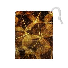 Leaves Autumn Texture Brown Drawstring Pouches (large)