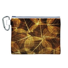 Leaves Autumn Texture Brown Canvas Cosmetic Bag (l)