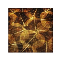 Leaves Autumn Texture Brown Small Satin Scarf (square)