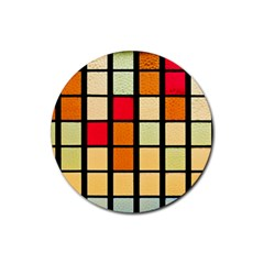 Mozaico Colors Glass Church Color Rubber Round Coaster (4 Pack)