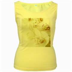 Orchids Flowers White Background Women s Yellow Tank Top