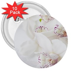 Orchids Flowers White Background 3  Buttons (10 Pack)