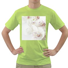 Orchids Flowers White Background Green T Shirt