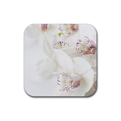 Orchids Flowers White Background Rubber Square Coaster (4 Pack)