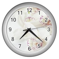 Orchids Flowers White Background Wall Clocks (silver)