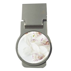 Orchids Flowers White Background Money Clips (round)