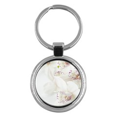 Orchids Flowers White Background Key Chains (round)