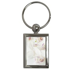 Orchids Flowers White Background Key Chains (rectangle)
