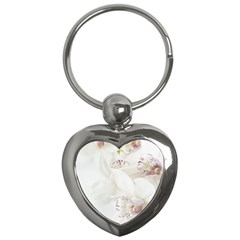 Orchids Flowers White Background Key Chains (heart)
