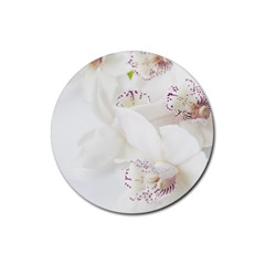 Orchids Flowers White Background Rubber Round Coaster (4 Pack)