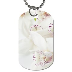 Orchids Flowers White Background Dog Tag (one Side)
