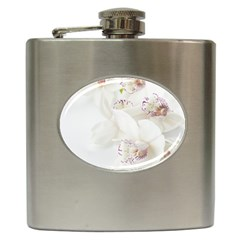 Orchids Flowers White Background Hip Flask (6 Oz)