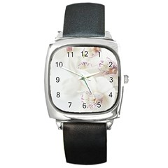 Orchids Flowers White Background Square Metal Watch
