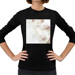 Orchids Flowers White Background Women s Long Sleeve Dark T Shirts