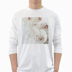 Orchids Flowers White Background White Long Sleeve T Shirts