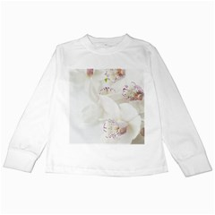 Orchids Flowers White Background Kids Long Sleeve T Shirts