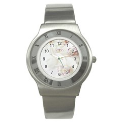Orchids Flowers White Background Stainless Steel Watch