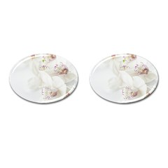 Orchids Flowers White Background Cufflinks (oval)
