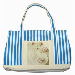 Orchids Flowers White Background Striped Blue Tote Bag