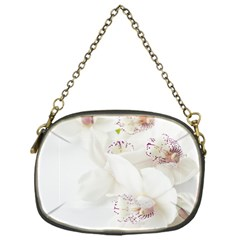 Orchids Flowers White Background Chain Purses (one Side)
