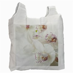 Orchids Flowers White Background Recycle Bag (two Side)