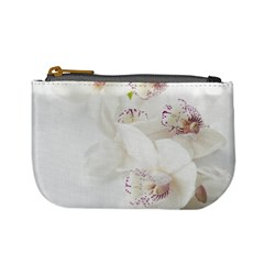 Orchids Flowers White Background Mini Coin Purses