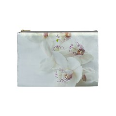 Orchids Flowers White Background Cosmetic Bag (medium)