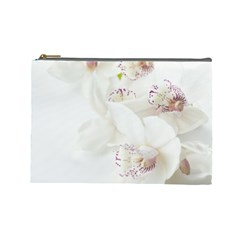 Orchids Flowers White Background Cosmetic Bag (large)
