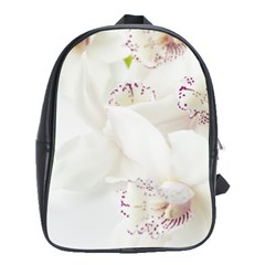 Orchids Flowers White Background School Bags(large)